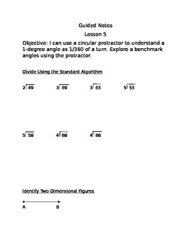 Engage NY guided Notes Module 4 Lesson 5