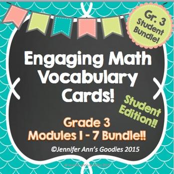 Engaging Math Vocabulary Cards Bundle:  Student Edition!!