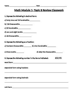Engage Ny Grade 5 Math Module 1 Topic B Review & HW Sheets