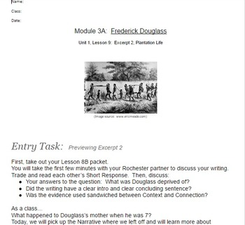EngageNY Gr.7 Student Working Packets F. Douglass Unit 1 -