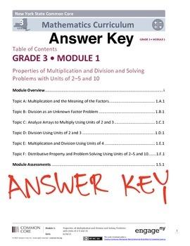 EngageNY (Eureka Math) Grade 3 Module 1 Answer Key