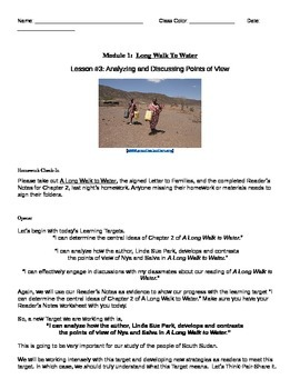 EngageNY: Mod1, Unit 1 Long Walk to Water  Lesson 3 Studen