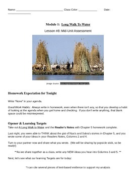 EngageNY: Mod1, Unit 1 Long Walk to Water Lesson 8 Student