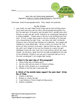 Engaging Main Idea & Summarizing Assessment