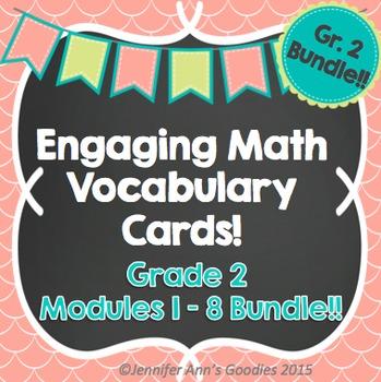 Engaging Math Vocabulary Cards Grade 2 Bundle!!