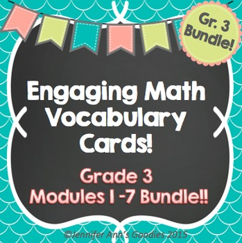 Engaging Math Vocabulary Cards Grade 3 Bundle!!