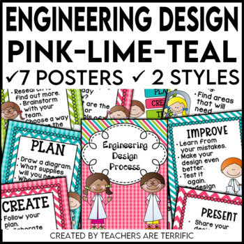 Engineering Design Process Posters in Pink, Lime, and Teal