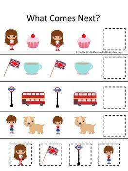 England What Comes Next preschool math game #1.  Printable