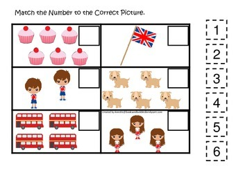 England themed Match the Number #1 preschool learning game