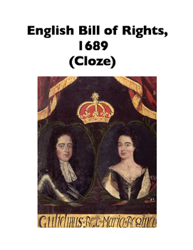 English Bill of Rights, 1689 (Full-Text Cloze)
