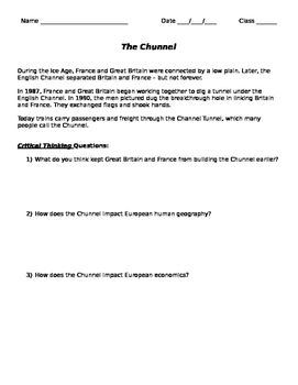 English Channel: Chunnel Critical Thinking