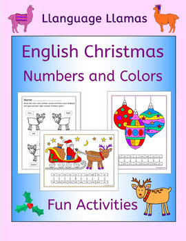 English Christmas number and color activities for EAL EFL ESL