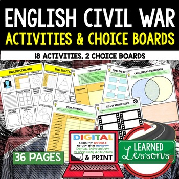 English Civil War Choice Board Activities (Paper & Google)