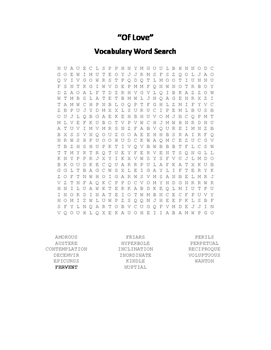 English Essays Vocabulary Word Search Packet - Bacon - Swi