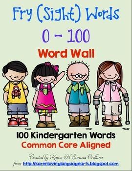 English Fry (sight) Words 0-100 Word Wall