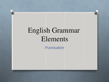 English Grammar Elements Punctuation