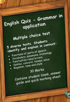 English Grammar Quiz - Language in context