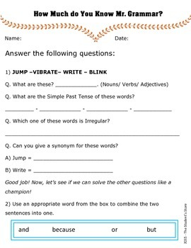 English Grammar Revision Worksheet