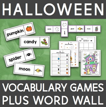 English Halloween Vocabulary Games and Word Wall