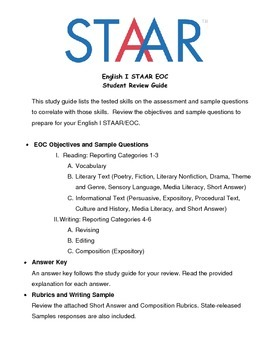 English I STAAR EOC Student Review Study Guide