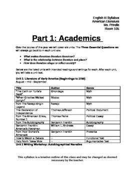English III (American Literature) Syllabus with Classroom