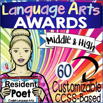 English Language Arts Awards CCSS Certificates - Editable