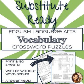 English Language Arts Vocabulary Crossword Puzzles
