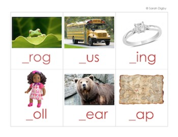 English Missing Letter Literacy Centers and/or Worksheets