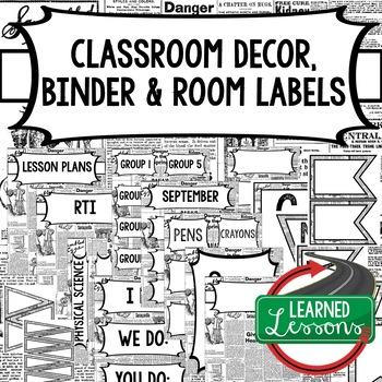 English Newspaper Binder Covers and Classroom Labels