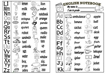English Notebook cover- ABC Letters.