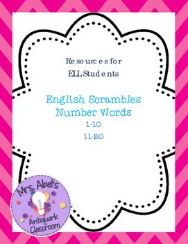 English Number Words Scrambles -- FREEBIE