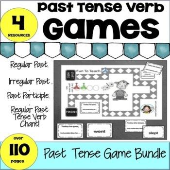 English Regular and Irregular Past Tense Verb Games Bundle