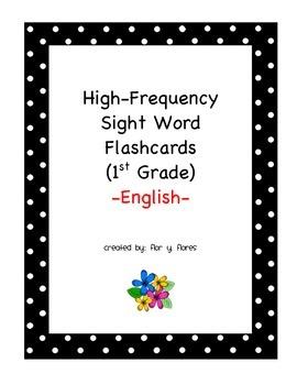 English Sight Word Flash Cards 1st Grade