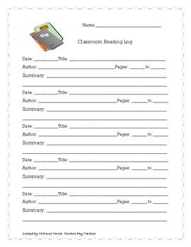 English/Spanish Classroom Reading Logs