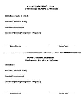English/Spanish Parent Teacher Conferences Form