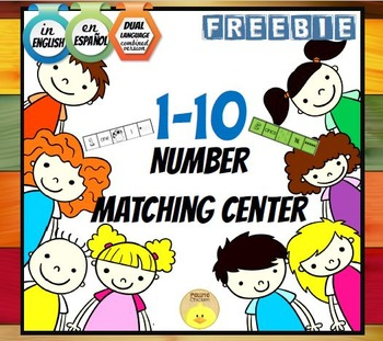 FREE 1-10 Number Match Center. English, Spanish and Dual v