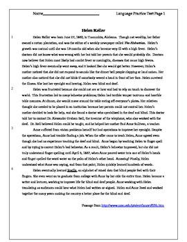 English Standardized Test Review - Helen Keller
