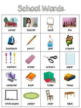 English Word Wall- School Words