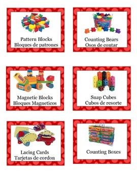 English and Spanish Classroom Labels- Color Coordinated