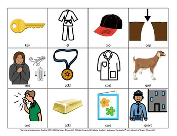 English /k/ and /g/ initial, medial, and final minimal pairs