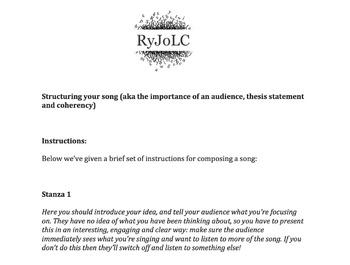 English language/ literacy skills using songwriting