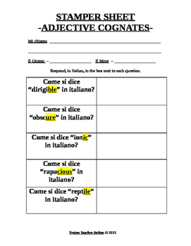 English to Italian Adjective Cognates Activity Sheet