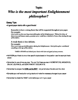 Enlightenment Philosopher Essay