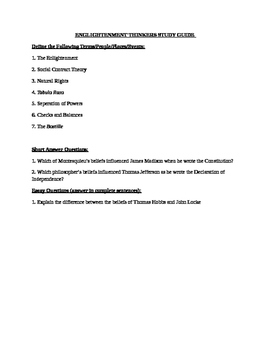Enlightenment Thinkers Study Guide