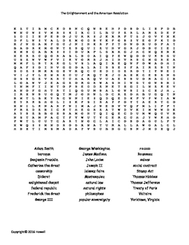 Enlightenment and the American Revolution Word Search for