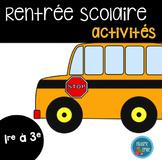 FRENCH Back to school PACK/Ensemble d'activités La rentrée