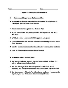 Entrepreneurship - Chapter Notes and Test - Developing a B