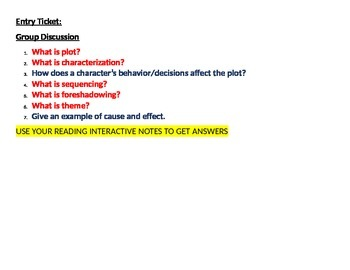 Entry/Exit Ticket:  Literary Elements Review