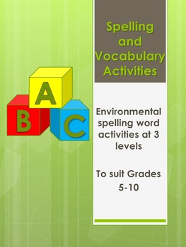Environment Spelling and Vocabulary Lessons and Activities