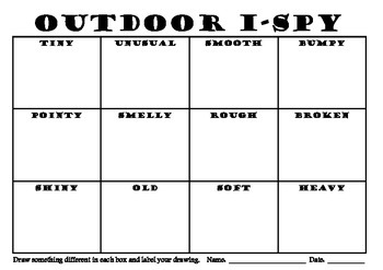 Environmental Outdoor Eye Spy Recording Sheet for Art Scie